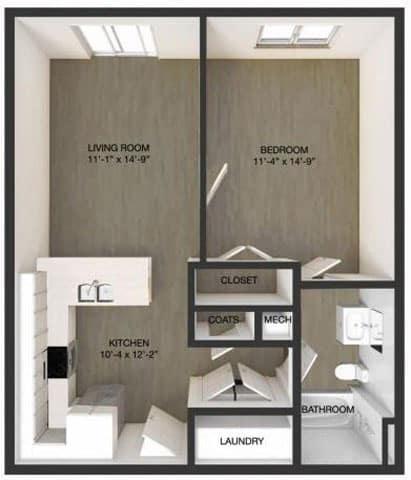 floor plan of one bedroom apartment in wilmington de