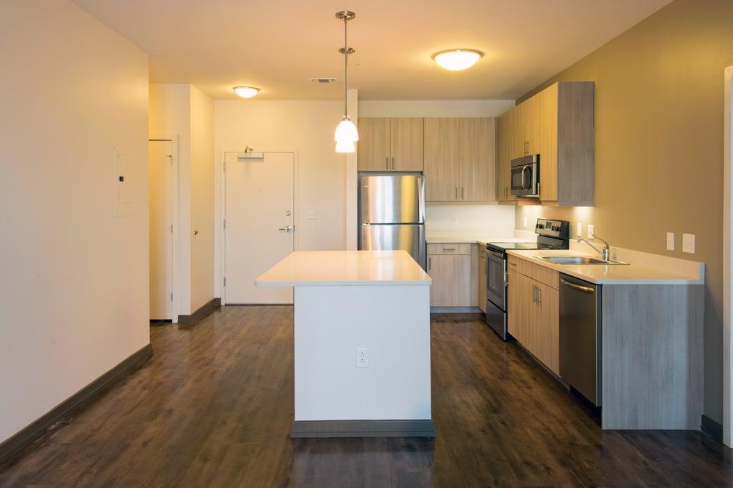 Updated kitchen in riverfront apartment in Wilmington, DE