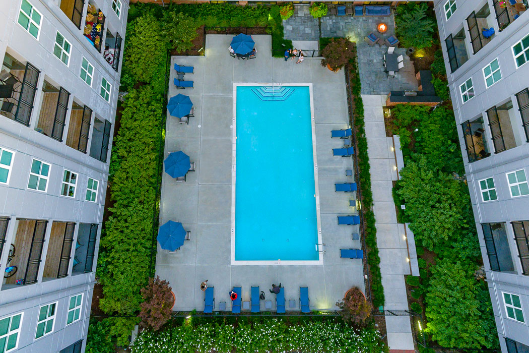 aerial view of the pool at apartment in wilmington de