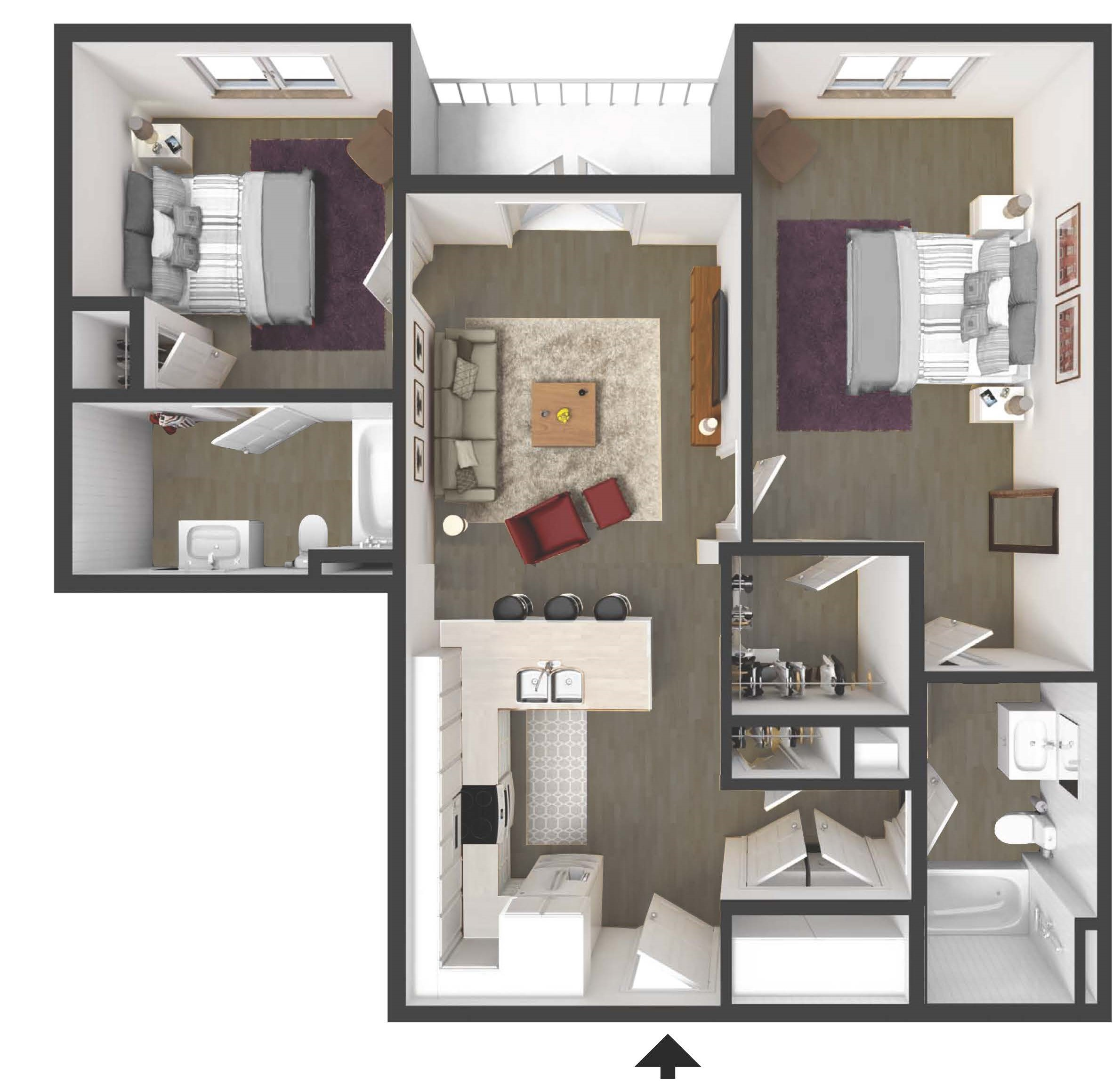 Two bedroom apartment at the Residences of Harlan Flats on the Wilmington Waterfront