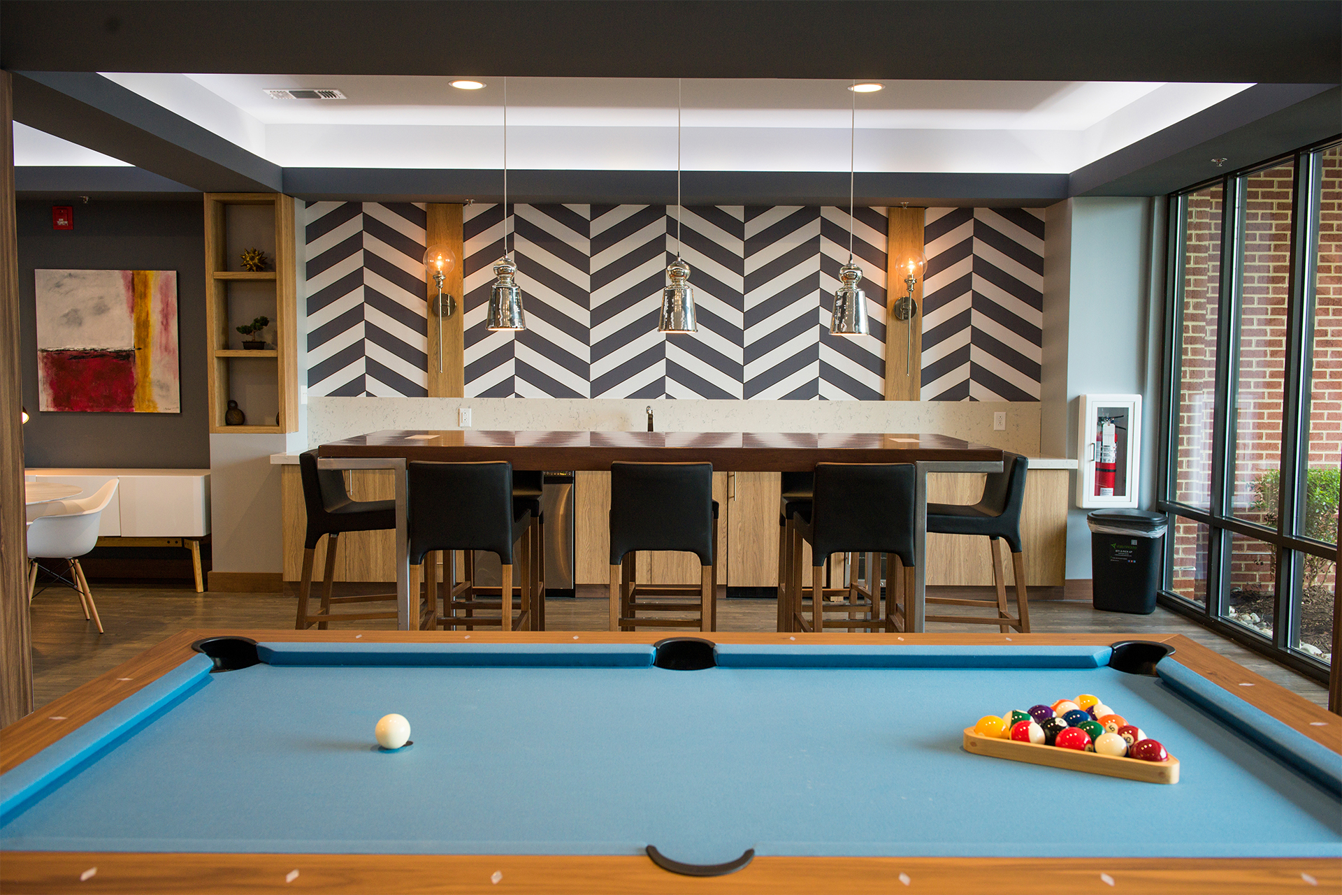 Pool table in the residences at harlan flats community room